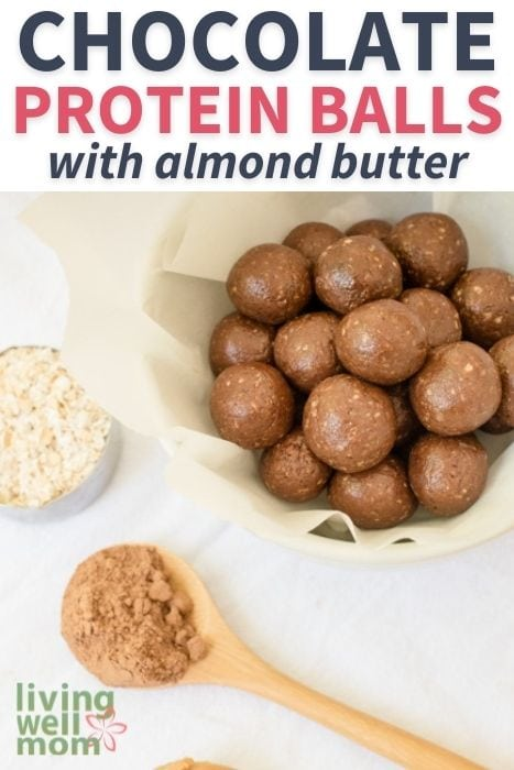 Pinterest image for chocolate protein balls with almond butter
