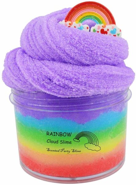 fluffy rainbow cloud slime