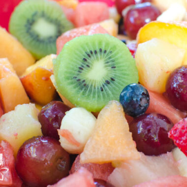 close up of colorful rainbow fruit