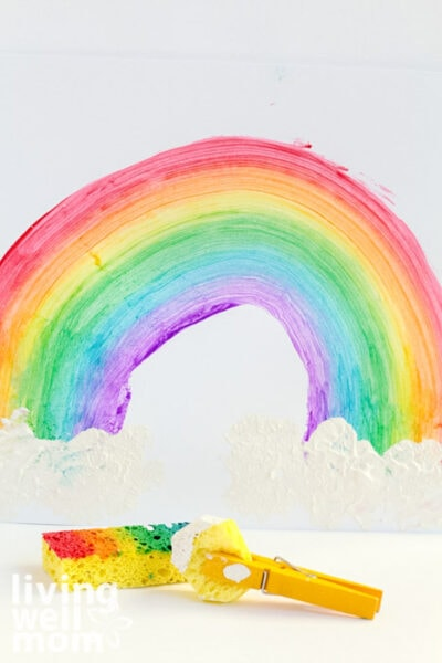 Rainbow painted with a sponge
