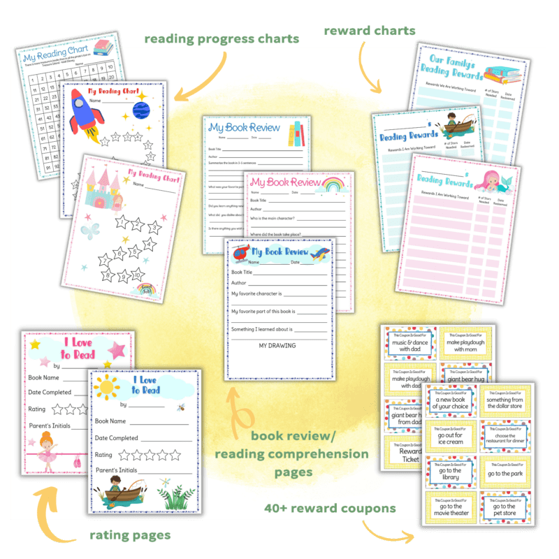 layout of printables included in reading fun motivation kit