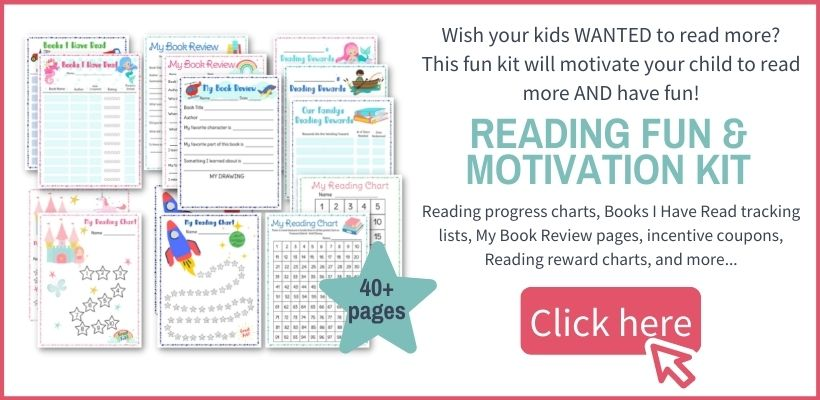 layout of pages included in reading fun motivation kit for kids and families