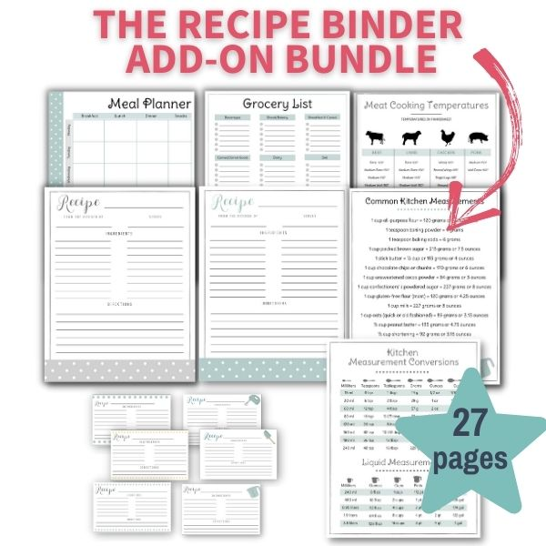 sample of pages included in recipe binder add-on bundle