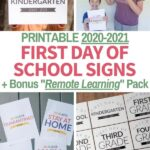 first day of school signs with remote learning 2020-2021
