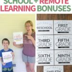 collage of first day of school signs with remote learning options