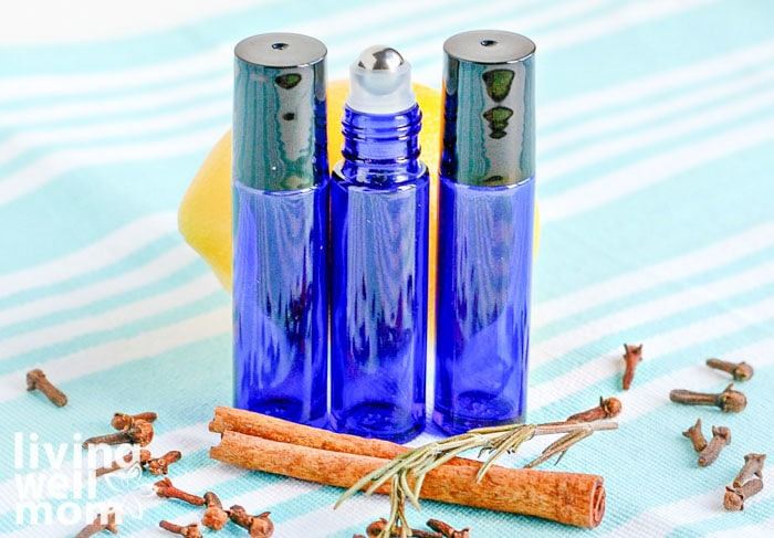 3 glass roller balls filled with immune-boosting essential oils