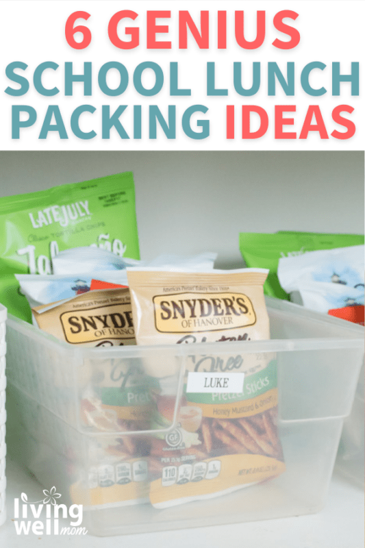 Pinterest image for 6 genius school lunch packing ideas.
