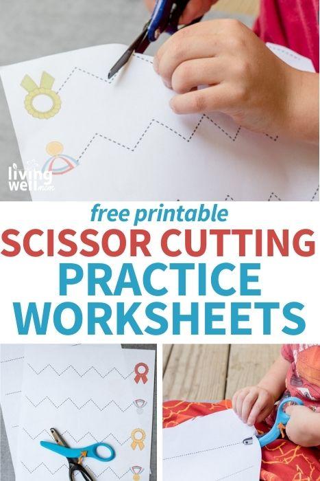 Pinterest image for free printable scissor cutting practice worksheets.