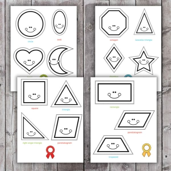 layout of shape cutting practice pages for preschoolers - printables