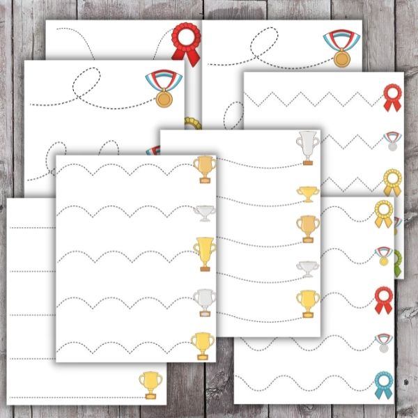 layout of cutting practice worksheet printable pages