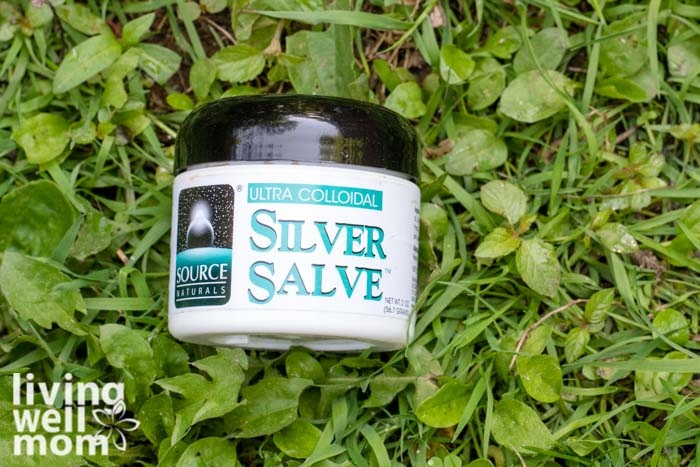 Jar of colloidal silver salve to use for first aid kit supplies