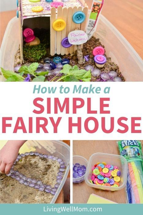 Pinterest image for DIY fairy house ideas.
