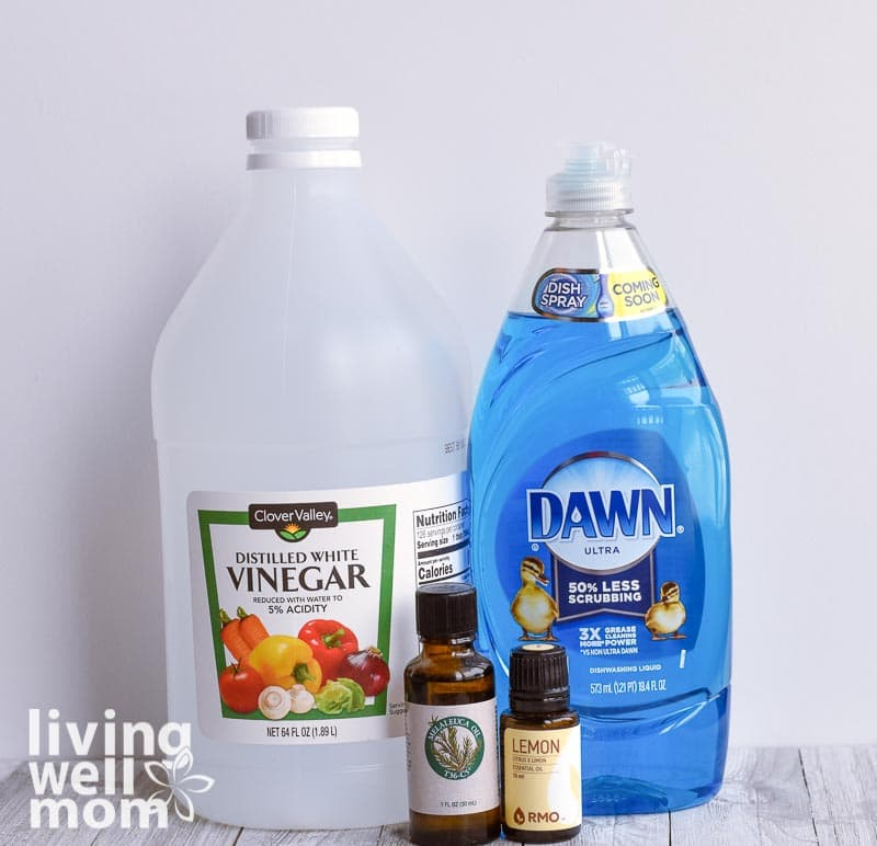 vinegar, dawn dish soap, essential oils for making shower cleaner