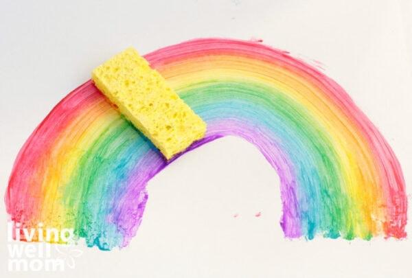 Sponge painting of a rainbow