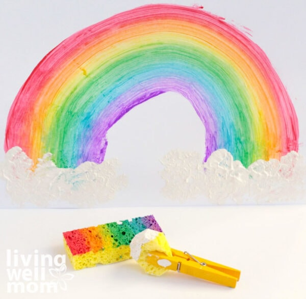 How to add clouds to a sponge rainbow painting
