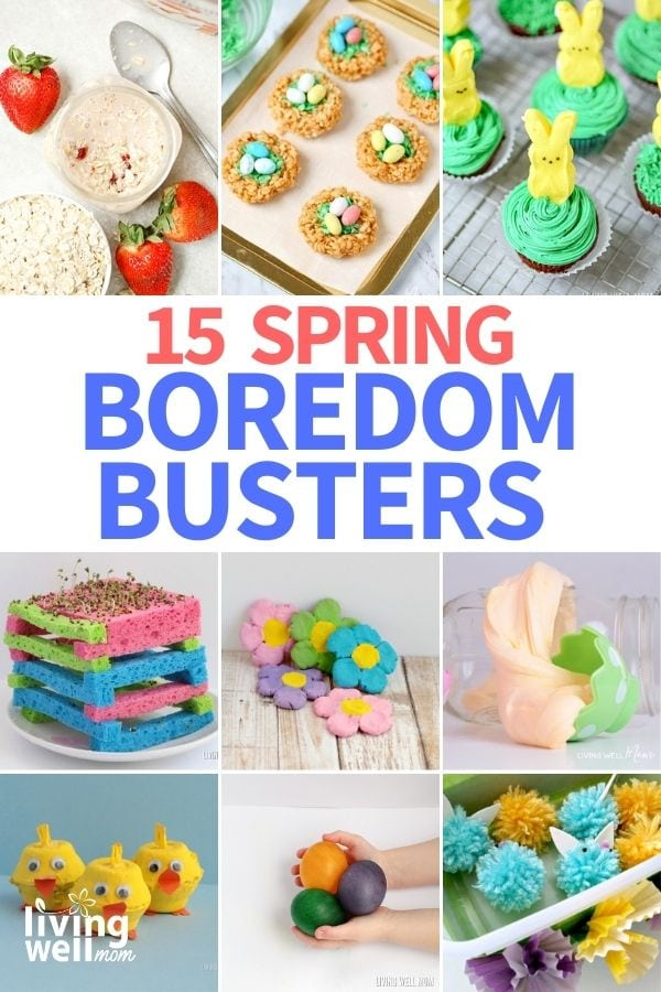 collage of images for spring entertainment for kids