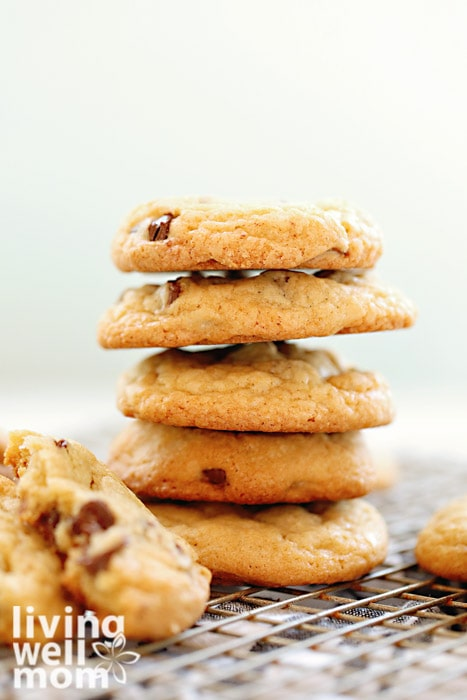 Stack of cookies on a cooling rack