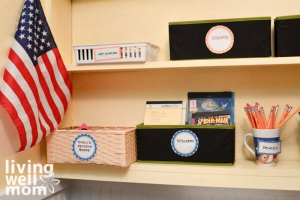 bookshelf with remote learning supplies for kids stored neatly in bins