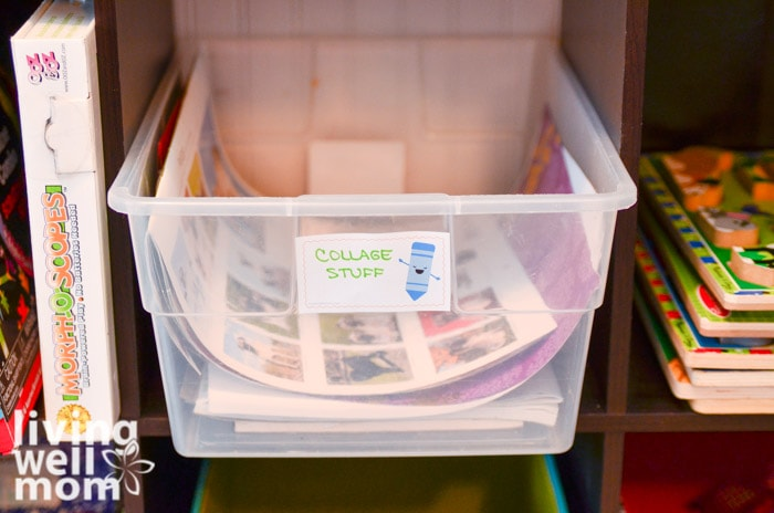 bin filled with kids craft supplies for collages