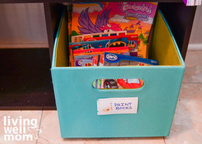 storing paint books for kids
