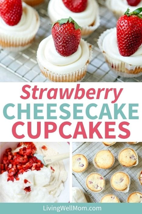 Pinterest image for strawberry cheesecake cupcakes with fresh berries.