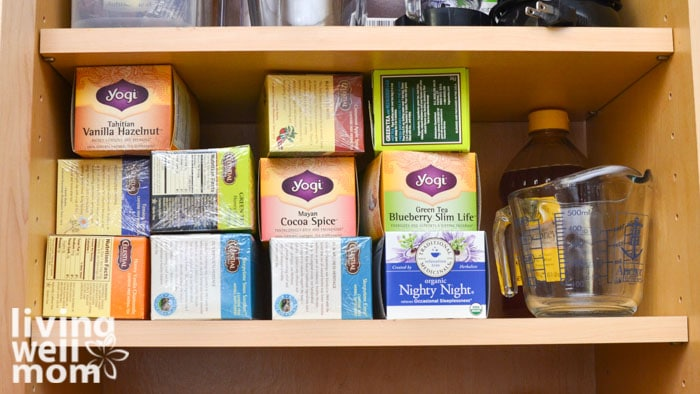 Tea cabinet prior to being organized