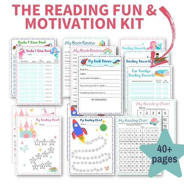 picture of the 43 pages in the reading fun and motivation kit