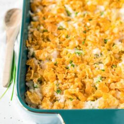 Chicken and rice casserole in a casserole dish on a table